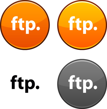 ftp: FTP round buttons. Black icon included.