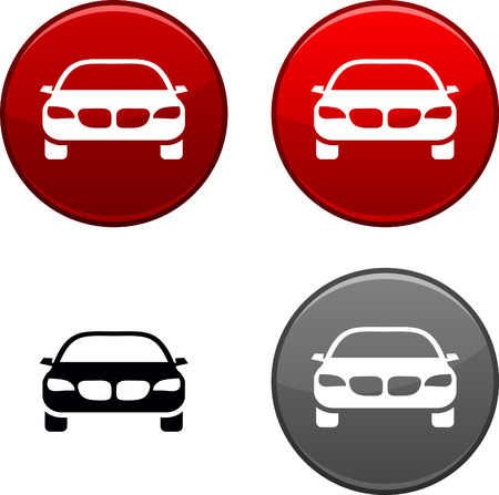round icons: Car round buttons. Black icon included.  Illustration