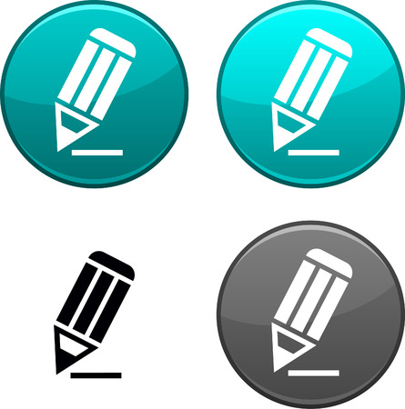shiny icon: Pencil round buttons. Black icon included.  Illustration