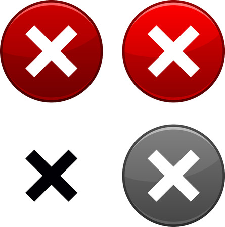 abort: Abort round buttons. Black icon included.  Illustration