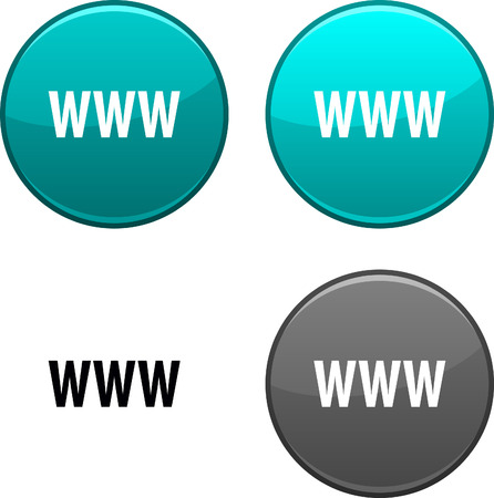 WWW round buttons. Black icon included. Stock Vector - 6748732
