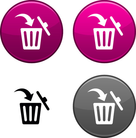 delete icon: Delete round buttons. Black icon included.  Illustration