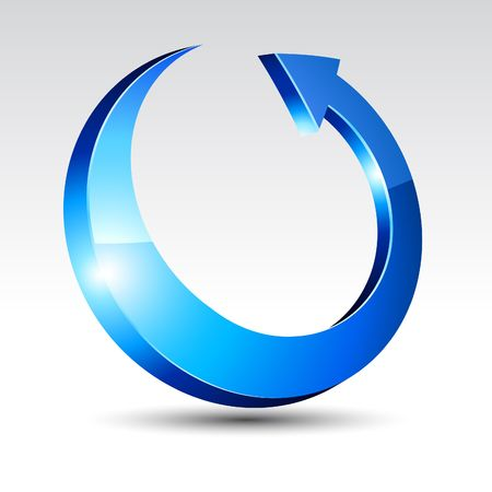 flecha azul: Flecha con sombra.  ilustraci�n. Vectores