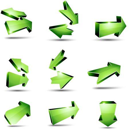 fleche verte: Fl�ches de retour 3D. illustration.