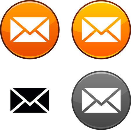 Mail runden Schaltflächen. Schwarz Symbol enthalten.