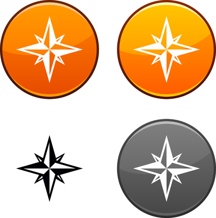 Compass round buttons. Black icon included.  Illustration