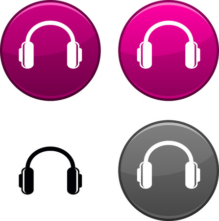 headphones icon: headphones round buttons. Black icon included.