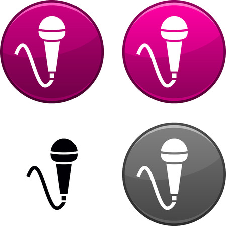Mic round buttons. Black icon included. Stock Vector - 6748720