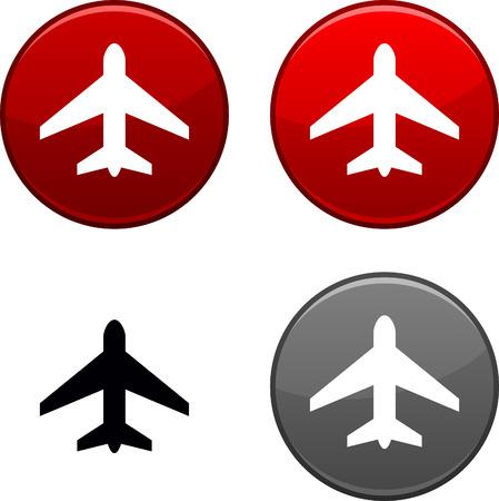 Aeromobili tondo pulsanti. Icona nera incluso.