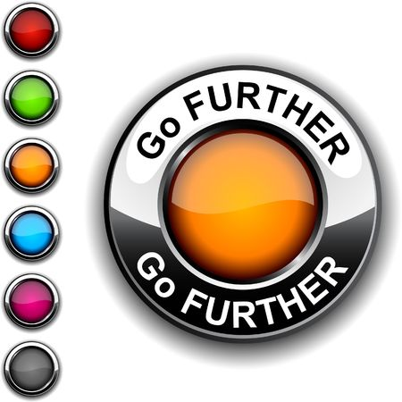 Go further  realistic button.   Stock Vector - 6749178