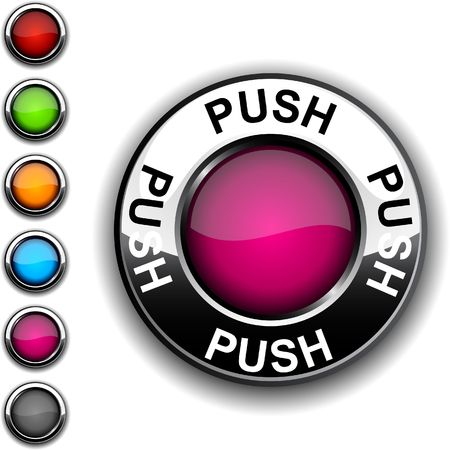 Push  realistic button.  Stock Vector - 6749165