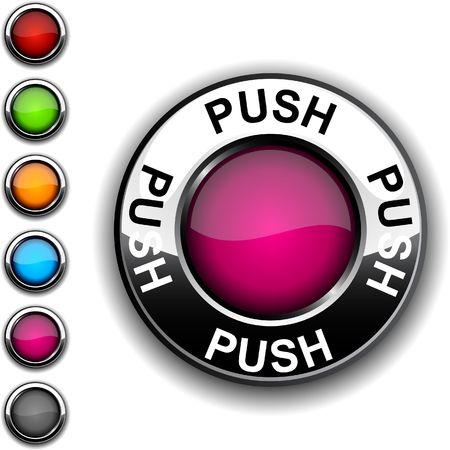 Push  realistic button. Stock Vector - 6749165