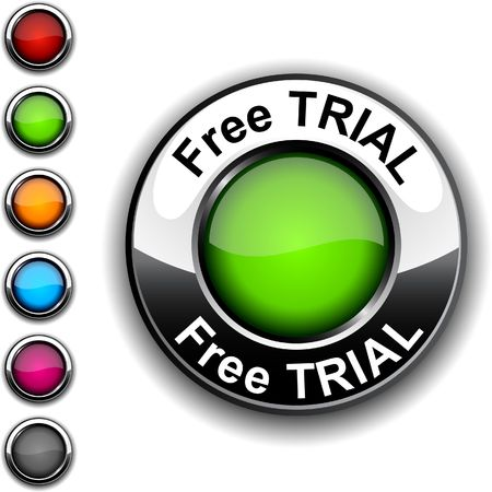 Free trial  realistic button.  Stock Vector - 6749180