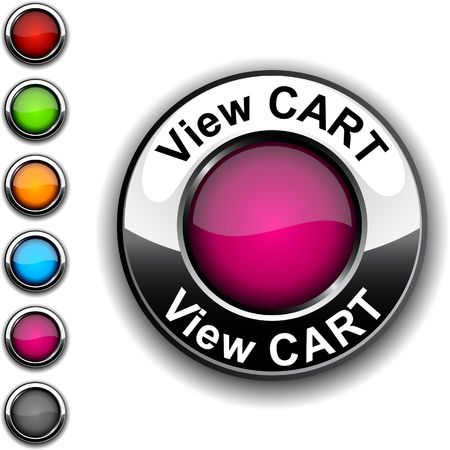 View cart  realistic button.  Vector