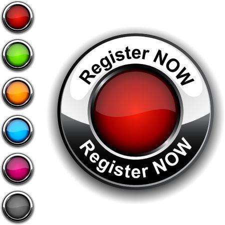 register: Register now  realistic button. Illustration