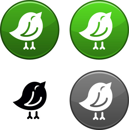nestling birds: Bird round buttons. Black icon included.