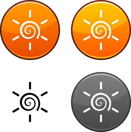 Sun round buttons. Black icon included.  Vector