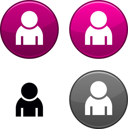 Person round buttons. Black icon included. Stock Vector - 6749415