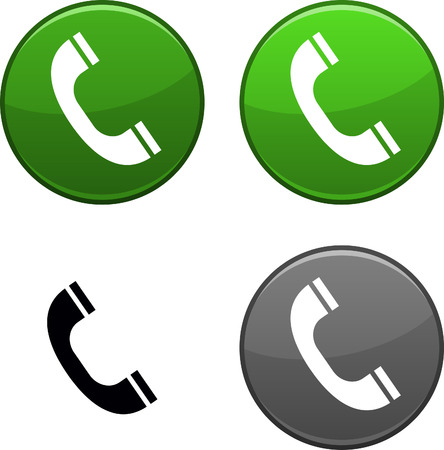 shiny icon: Telephone round buttons. Black icon included.  Illustration