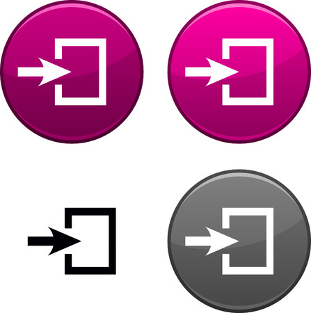 Entrance round buttons. Black icon included.  Vector