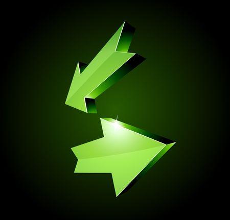 recurrence: 3D return arrows. illustration.  Illustration
