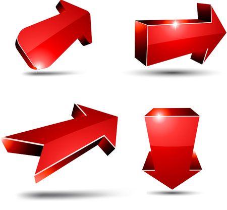 Flechas rojas 3D. ilustración.  Ilustración de vector