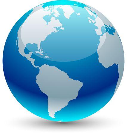 globe earth: Glossy globe icon.  illustration.