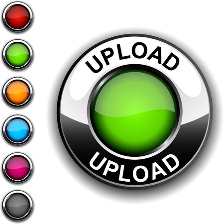 Upload  realistic button. Stock Vector - 6755489