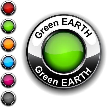 Green Earth realistic button. Stock Vector - 6755490