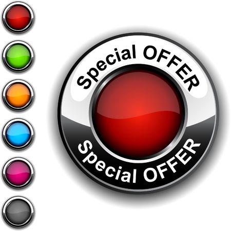 offerta speciale: Offerta speciale pulsante realistico.  Vettoriali