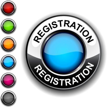 Registration realistic button. Stock Vector - 6755494