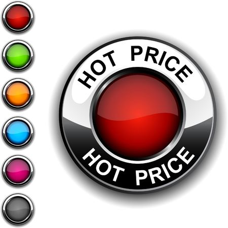 hot price: Hot price realistic button.   Illustration