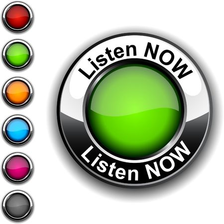 Listen now realistic button. Vector