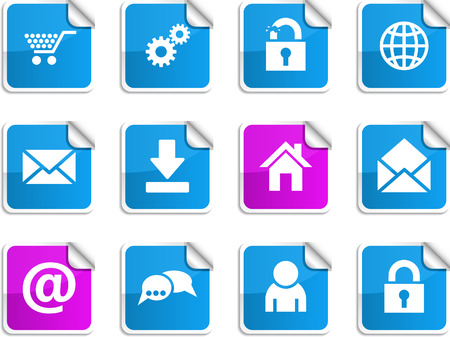web  set of square glossy stickers. Vector