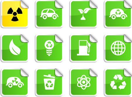 Ecology set of square glossy stickers. Vector