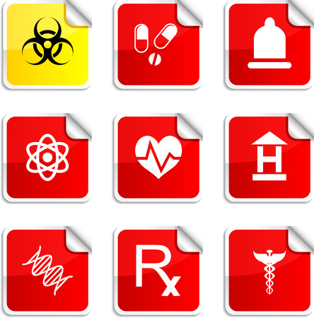 Medical set of square glossy stickers. Vector