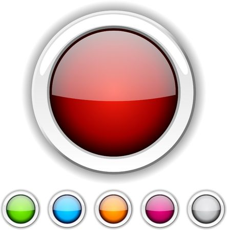 round glasses: Conjunto de botones brillante. ilustraci�n.