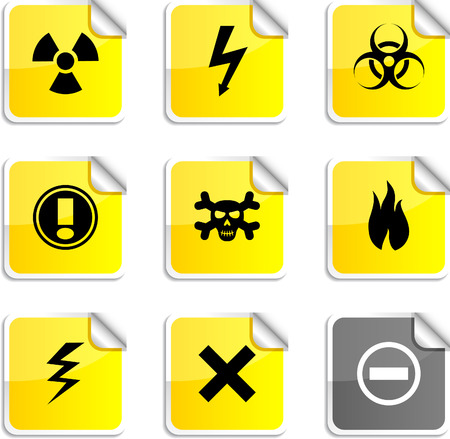 Warning set of square glossy stickers. Vector