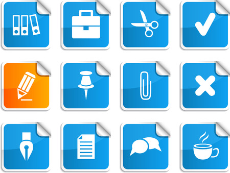 Office set of square glossy stickers. Vector