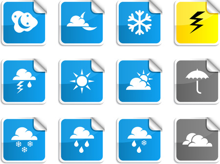 Weather set of square glossy stickers. Stock Vector - 6766344
