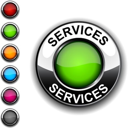 Services realistic button. Stock Vector - 6766387