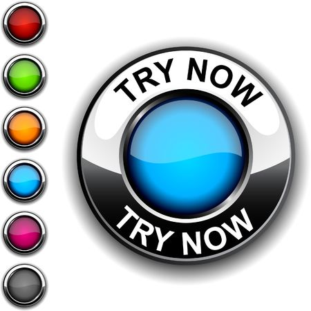 try:  Try now realistic button.  Illustration