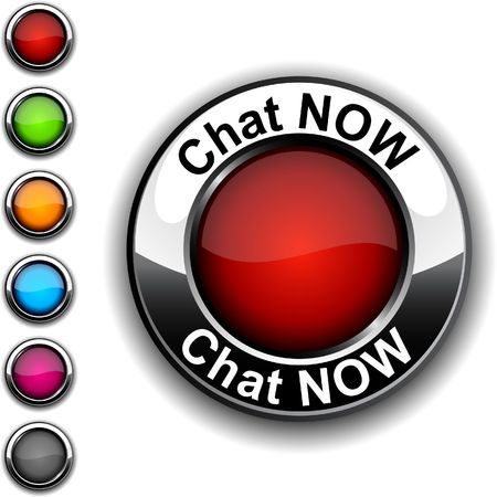 Chat now realistic button.  Stock Vector - 6766386