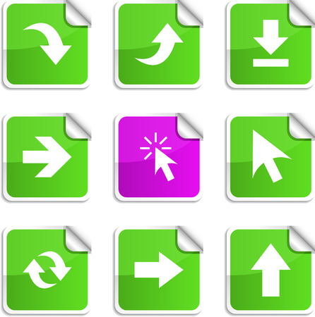 Arrows set of square glossy stickers. Vector