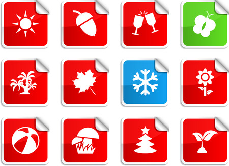Seasons set of square glossy stickers. Stock Vector - 6766340