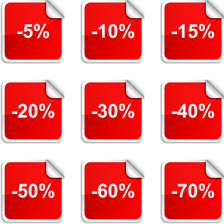 percent: Discount set of square glossy stickers.