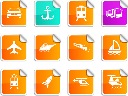 Transport set of square glossy stickers. Vector