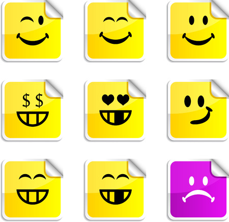 Smiley set of square glossy stickers. Vector
