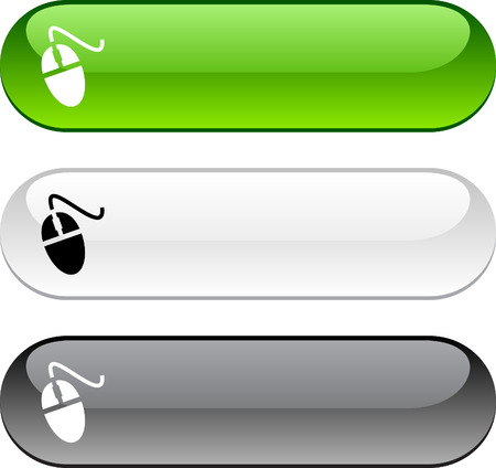 rectangular: Mouse glossy buttons. Three color version.