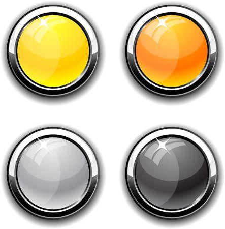 round glasses: Colecci�n de botones brillante. ilustraci�n.  Vectores